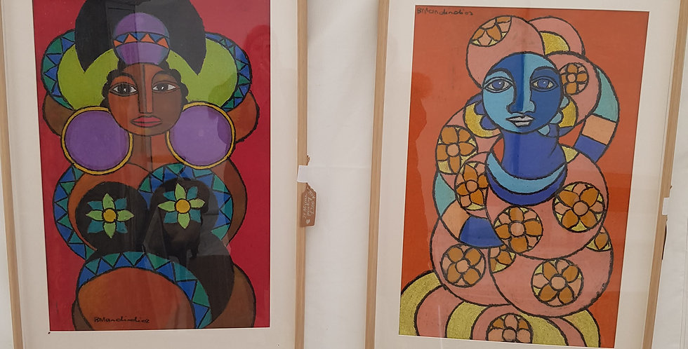 A Pair of Original Gouache African Paintings