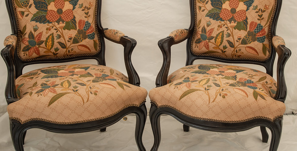 A Pair of French Upholstered Armchairs