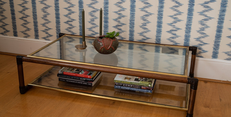 Italian Mid Century Bamboo Leather and Brass Coffee Table