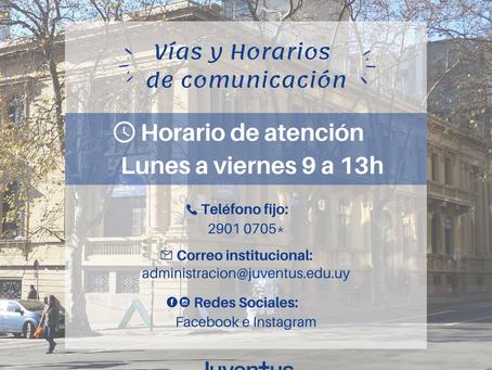 Vías y horarios de comunicación