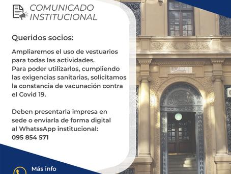 Comunicado institucional - habilitación vestuarios