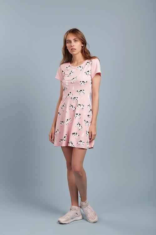 Платье розовое с коровками