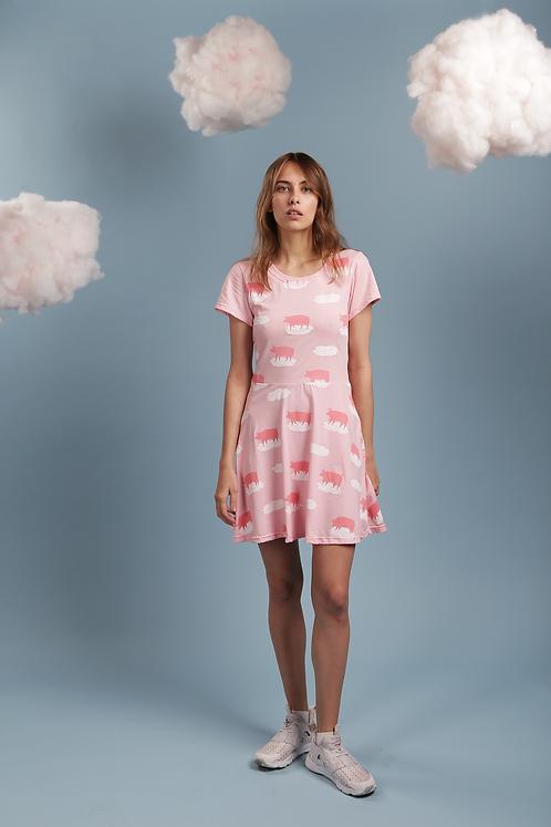 Платье розовое с хрюшками