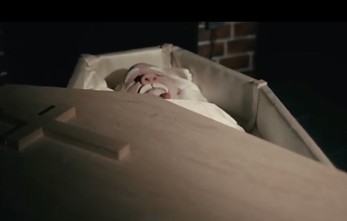 """Still from """"Grandad"""" puppet film. Coffin build and puppet made by myself."""