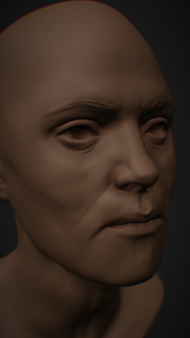 3d of 40 year old woman head in Nomad Sculpt for iPad
