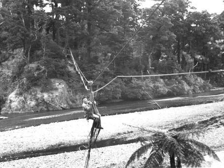 Crossing the Orongorongo River - 1951