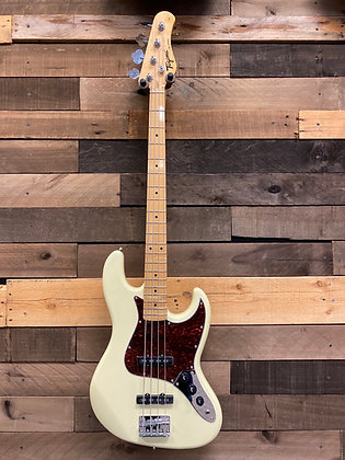 Tagima Woodstock Series Jazz Bass - Vintage White w/ Tort Shell Pickguard