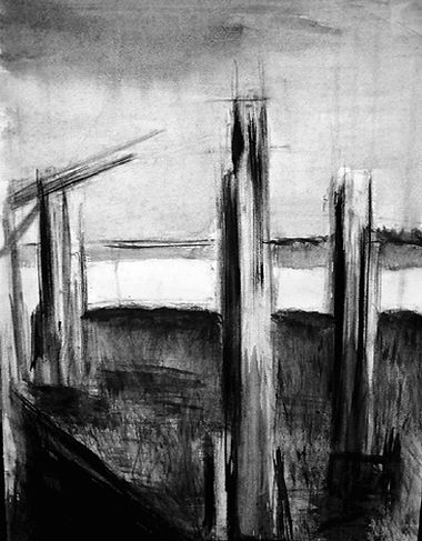 Richborough Harbour, mixed media on paper