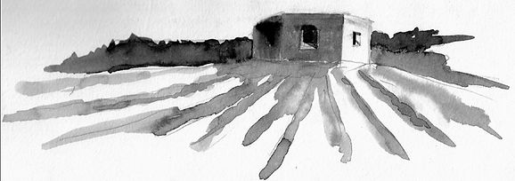 Pillbox at Sarre, ink on paper