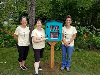 Staff erecting the Little Free Library.j