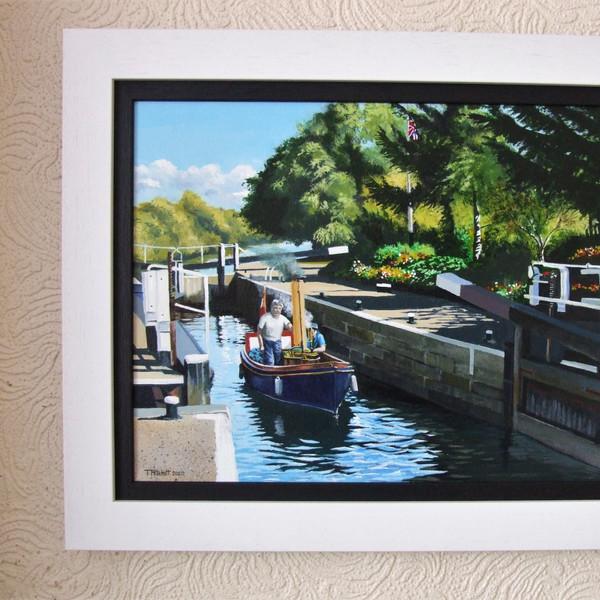 Stean launch at Cranfleet Lock  Canvas size 40cm x 30cm Price £200