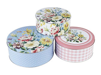 english garden cake tins, floral cake tins, vintage cake tins, gifts for bakers, chelsea flower show, home baking gifts, baking presents