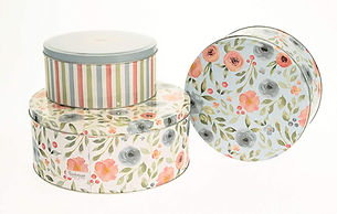 Country Floral Design Set of 3 Round Cake Storage Tin