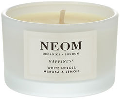 Neom Organics London Happiness Scented Candle, yoga candles, yoga travel accessories, yoga travel gifts, yoga travel mats, best yoga travel mats, yoga travel books, yoga travel presents, gifts for yoga lovers, travel presents, travel gifts