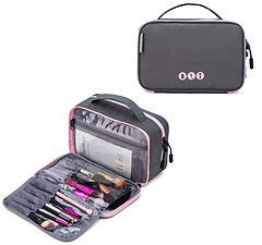 BAGSMART Double Layer Small Travel Cosmetic Bag