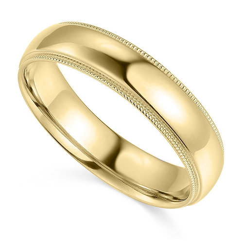 14k Yellow Gold 5-mm Comfort-fit Milgrain and polished Wedding Band