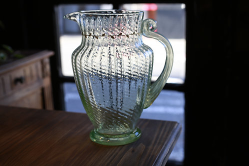 Emile Galle  GOLD  PAINT GREEN  PITCHER