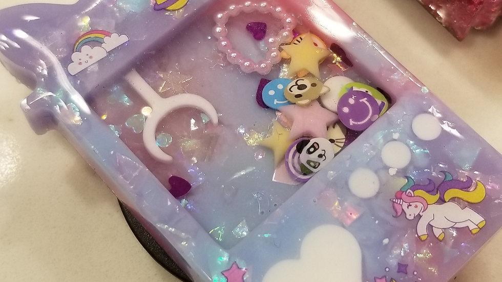 Pink Purple Unicorn Claw Machine Glitter Shaker Popsocket