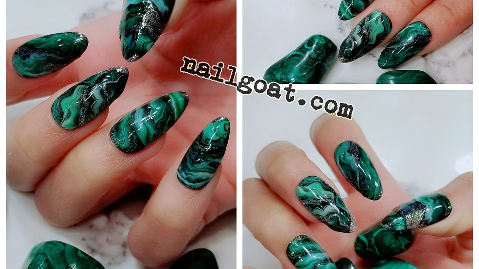 Malachite Marble Crystal Stone Press on Nails