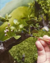Tree for Miniature Set (Paper Mache, Faux Greenery, Acrylic)