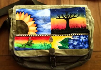 Painted Canvas Bag (Acrylic)