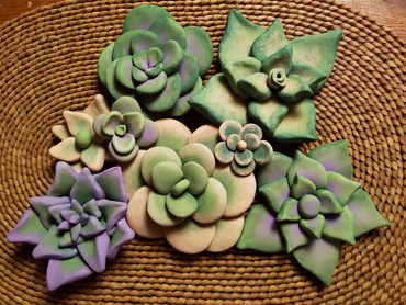 Handcrafted Succulents (Clay, Acrylic)
