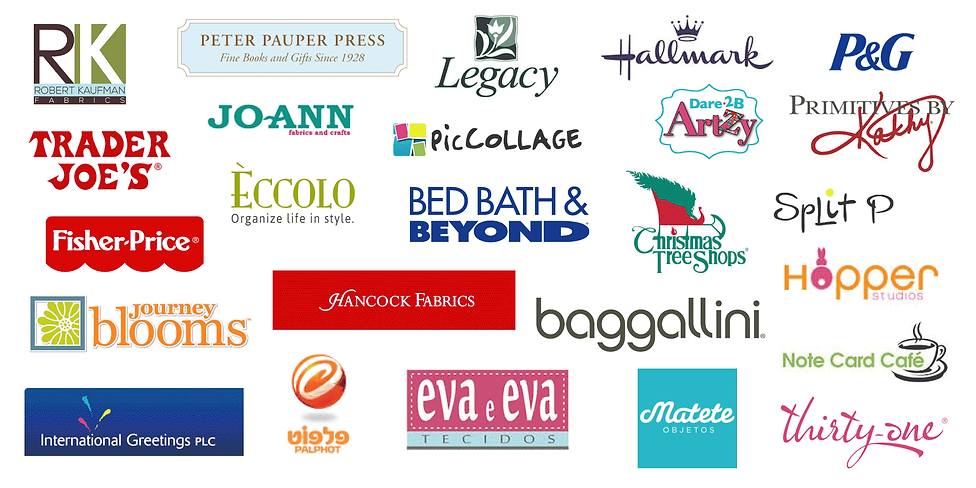 The logos of the many clients and companies that Andie Hanna Designs has worked wtih