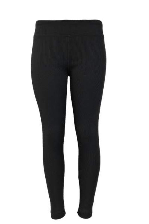 Ladies Cotton Spandex Ribbed Pants - Black
