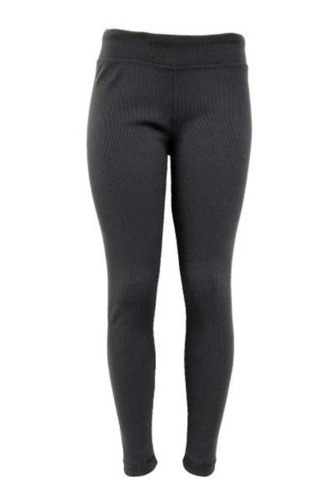 Ladies Cotton Spandex Ribbed Pants - Charcoal