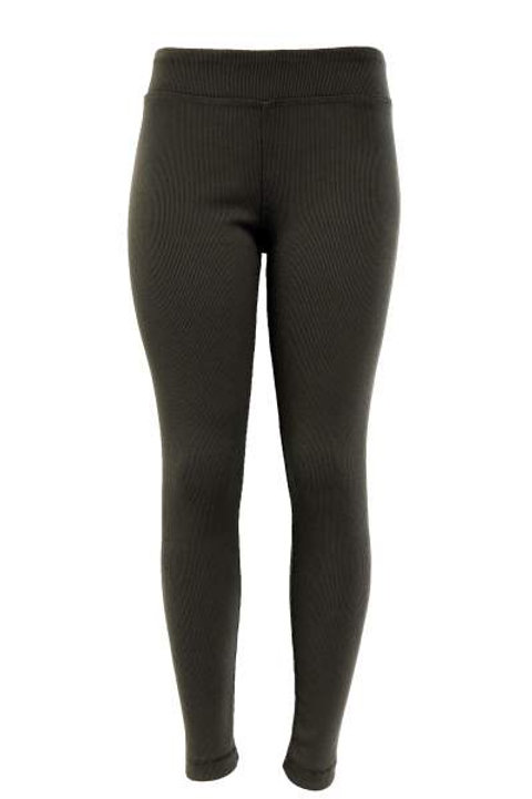 Ladies Cotton Spandex Ribbed Pants - Green