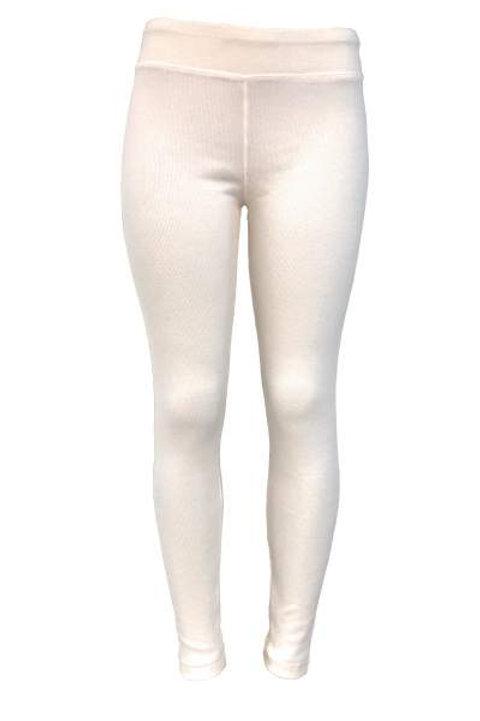 Ladies Cotton Spandex Ribbed Pants - White