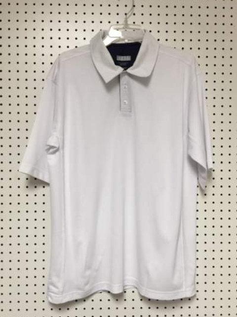 Starter Men's 100% Polyester White Polo Golf Shirt