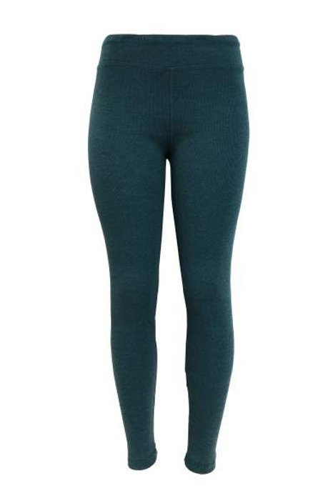 Ladies Cotton Spandex Ribbed Pants - Denim Teal