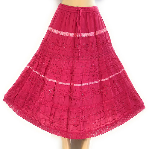 Ladies Plus Cotton White Peasant Embellished Sweep Skirt