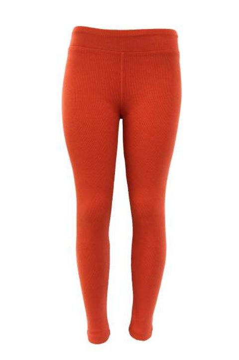 Ladies Cotton Spandex Ribbed Pants - Orange