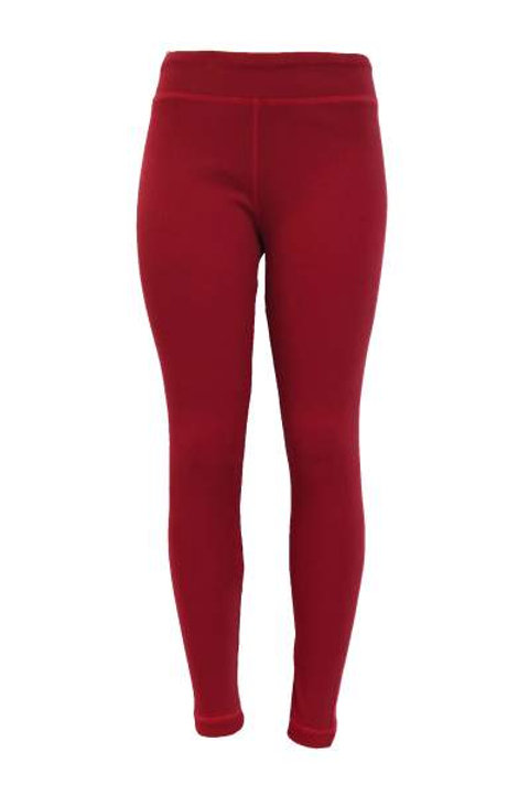 Ladies Cotton Spandex Ribbed Pants - Red