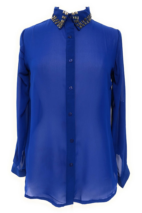 Ladies Missy Embellished Roll-up sleeve shirt
