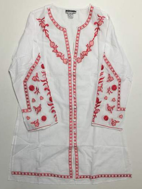 100% Cotton Ladies White Embroidered Long Sleeve Tunic Top