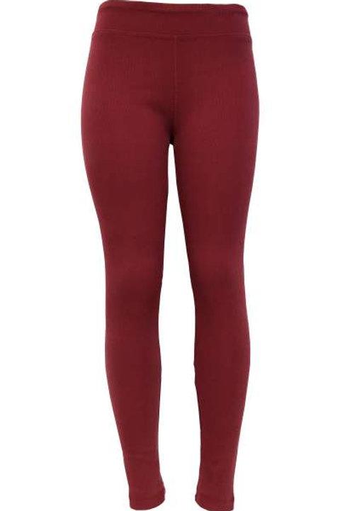 Ladies Cotton Spandex Ribbed Pants - Maroon