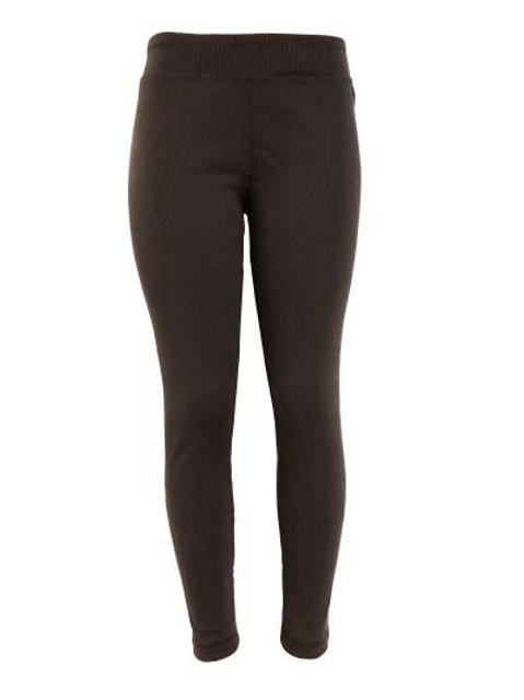 Ladies Cotton Spandex Ribbed Pants - Brown