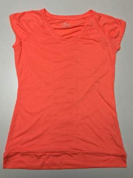 Ladies Polyester Spandex Short Sleeve V-Neck Top