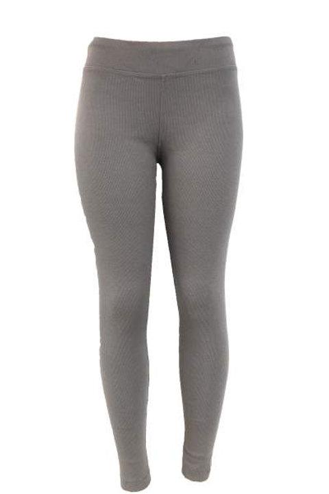 Ladies Cotton Spandex Ribbed Pants - Silver