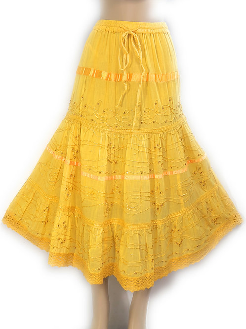 Ladies Plus Cotton White Peasant Embellished Sweep Skirt