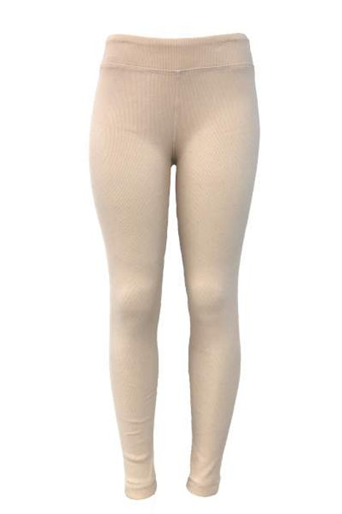 Ladies Cotton Spandex Ribbed Pants - Off White