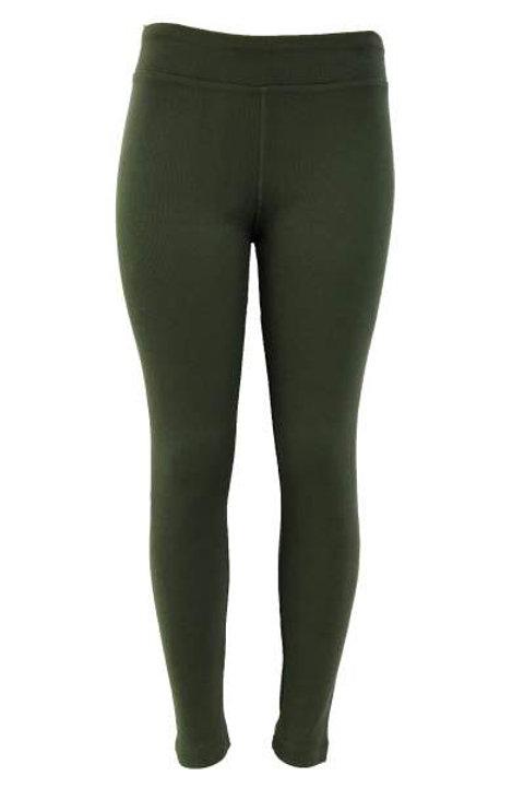 Ladies Cotton Spandex Ribbed Pants - Dark Green