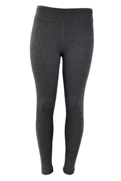 Ladies Cotton Spandex Ribbed Pants - Carbon Heather