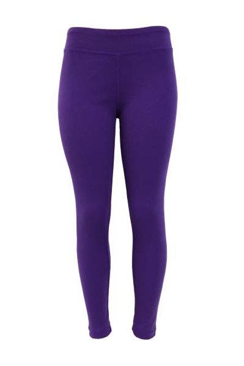Ladies Cotton Spandex Ribbed Pants - Purple