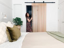 Scandinavian design wood slat barn door