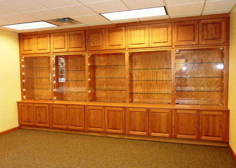 Library display cabinets.