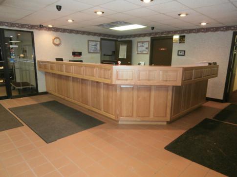 Motel reception desk.